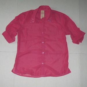 New Girls 10/12 Faded Glory Pink Button Down Top